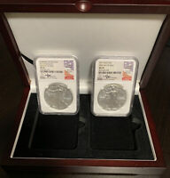 2017 W BURNISHED SILVER EAGLE NGC MS70 MERCANTI & 2017 NGC MS70 2-COIN SET