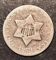 1853 3 CENT SILVER TRIME 3C OBSOLETE US TYPE COIN WORN SILVER