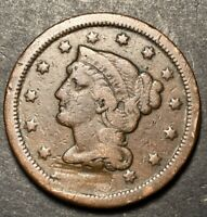 1839-1857 BRAIDED HAIR LARGE CENT 1C  DETAILS & COLOR DAMAGED