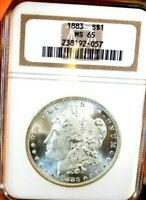 MORGAN SILVER DOLLAR 1883 P NGC MINT STATE 65  OLD HOLDER PQ PL OBV WOW COIN