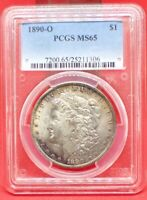 1890 O MORGAN SILVER DOLLAR. PCGS MINT STATE 65.  TOUGH DATE IN THIS GRADE