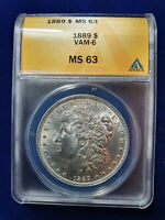 1889-P MORGAN SILVER $1 DOLLAR US COIN ANACS MINT STATE 63 VAM-6