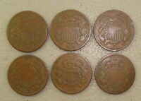 LOT OF  6  DIFFERENT 1864 1869 TWO CENT PIECES VG