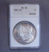 1881   CC MORGAN SILVER DOLLAR | MS 64 NGC | RAINBOW TONING