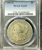 1893 S MORGAN DOLLAR PCGS VG 10 KEY DATE MORGAN SILVER DOLLA