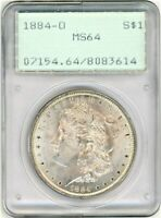 1884-O MORGAN SILVER DOLLAR PCGS MINT STATE 64 IN OLD RATTLE HOLDER
