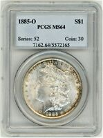 1885-O MORGAN SILVER DOLLAR PCGS MINT STATE 64 ONE DOLLAR SILVER COIN