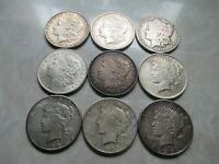 LOT OF 9 MORGAN & PEACE DOLLARS INCLUDES  1900-O AND 1904-S MORGANS