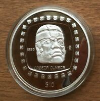 G348 MEXICO 1996 $10   5 OUNCE ONZA SILVER PROOF COIN IN BOX