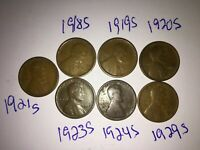 1918S1919S1920S1921S1923S1924S1929S LINCOLN WHEAT CENTS S-TACULAR