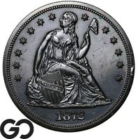 1872 SEATED LIBERTY DOLLAR PROOF DEEPLY TONED PF A MERE 950 PR STRUCK