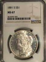1881-S MORGAN DOLLAR  MINT STATE 67  NGC     WHITE & NEARLY PERFECT