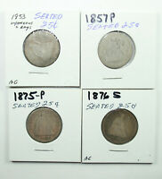 LOT OF 4: SEATED LIBERTY QUARTERS | 1853 1876