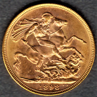 1898 M VEILED QUEEN VICTORIA GOLD SOVEREIGN  CHOICE UNCIRCUL