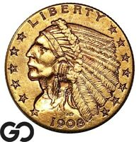1908 QUARTER EAGLE $2.5 GOLD INDIAN INVESTMENT GOLD PIECE