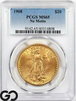 1908 MS65 DOUBLE EAGLE $20 GOLD ST GAUDENS PCGS MINT STATE 6