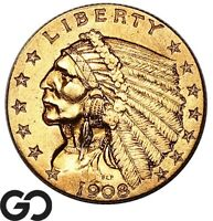 1908 QUARTER EAGLE $2.5 GOLD INDIAN COLLECTOR FIRST YEAR ISS