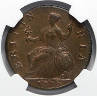 1770 UK GREAT BRITAIN HALFPENNY NGC MS63 BN RARE GRADE GEORG