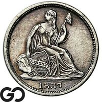 1837 SEATED LIBERTY HALF DIME NO STARS CHOICE AU COLLECTOR TYPE COIN