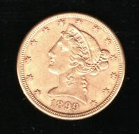 1899 S GOLD $5 LIBERTY HEAD HALF EAGLE COIN CIRCULATED
