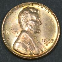 1957-D LINCOLN CENT PENNY BU WITH SOME  TONING   B16875