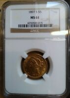 1897 S $5 GOLD LIBERTY HALF EAGLE NGC MS 61 SCARE IN UNCIRCU