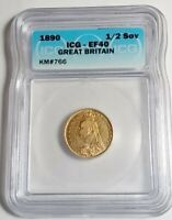 1890 GREAT BRITAIN, VICTORIA, 1/2 SOVEREIGN GOLD COIN, ICG CERTIFIED EF40