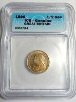 1898 GREAT BRITAIN, VICTORIA, 1/2 SOVEREIGN GOLD COIN, ICG CERTIFIED GENUINE
