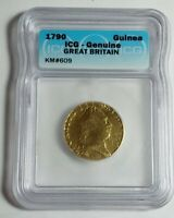 1790 GREAT BRITAIN GUINEA GOLD COIN CERTIFIED BY ICG GENUINE