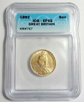 1892 GREAT BRITAIN ONE SOVEREIGN GOLD COIN ICG CERTIFIED EF-45
