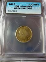 1817 GREAT BRITAIN GEORGE III SHIELD GOLD HALF SOVEREIGN ICG CERTIFIED