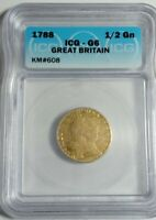 1788 GREAT BRITAIN 1/2 GUINEA GOLD COIN CERTIFIED BY ICG GENUINE