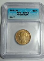 AUSTRALIAN 1871 S SOVEREIGN, GOLD, CERTIFIED ICG, EF 45, KEY DATE -