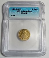 1791 SPANISH GOLD 1 ESCUDO, MADRID MINT, ICG CERTIFIED GENUINE AU CONDITION