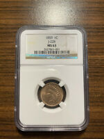 1859 INDIAN HEAD PENNY CENT PATTERN J-228 1C NGC MINT STATE 63