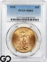 1924 DOUBLE EAGLE $20 GOLD ST GAUDENS PCGS MS 64    NICE CAR