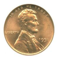 1951 LINCOLN CENT, NGC MINT STATE 66RD