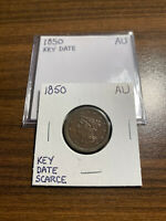 1850-P BRAIDED HAIR HALF CENT 1/2C ALMOST UNCIRCULATED AU