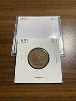 1851-P BRAIDED HAIR HALF CENT 1/2C ALMOST UNCIRCULATED AU