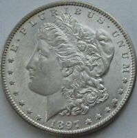 1897 MORGAN SILVER DOLLAR IN A SAFLIP - BU- AU - PROOFLIKE PL