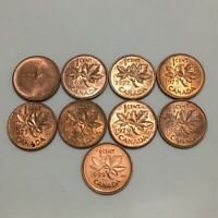 9 CANADIAN ONE CENT PENNIES WITH VARIOUS DOUBLING ON THE DATES