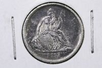 1837 SEATED LIBERTY DIME, NO STARS, LIVELY LUSTROUS EXTRA FINE /AU