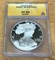 2000 P $1 PROOF AMERICAN SILVER EAGLE GRADED & CERTIFITED ANACS PF69 DEEP CAMEO