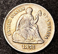 1873 S SEATED LIBERTY SILVER HALF DIME 5C SEMI KEY LOW MINTAGE DATE TYPE COIN