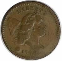 1794 HALF CENT VF HITS UNCERTIFIED