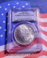 1897 MORGAN SILVER DOLLAR TOP 100 VAM 6A PITTED REVERSE PCGS MINT STATE 62 BRIGHT WHITE