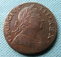 BEAUTIFUL 1775 OR 1776 BRITISH US COLONIAL GEORGE III NON REGAL COPPER HALFPENNY