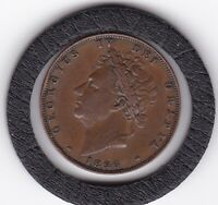 1826    KING    GEORGE   IV   COPPER  FARTHING  COIN