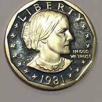 1981 S   SUSAN B ANTHONY DOLLAR   CAMEO PROOF COIN   ONLY 4.