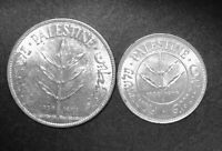 TWO PALESTINE SILVER COINS 1939 50 MILS AND 100 MILS LUSTROU
